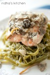 Salmon with Spinach Pasta