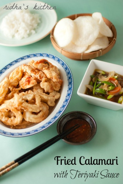 Seafood with teriyaki sauce