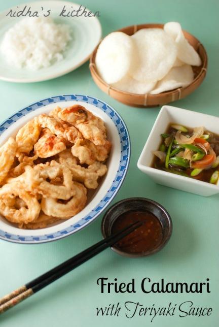 Seafood with teriyaki sauce