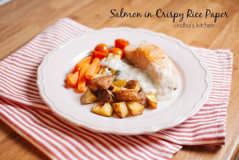 Salmon in crispy rice paper